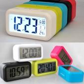 Fashion Digital Alarm LED Clock Light Control Backlight Time Calendar Thermometer Snooze Clock