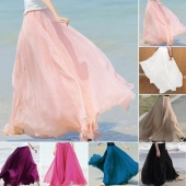 Maxi Long Bohemian Restore Women Shinning Chiffon Long Skirt 7Colors