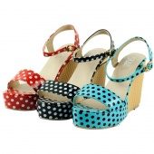 Women's Summer Roman Style Polka Dot High Heel Platform Wedges Sandal