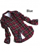 Women Button Cotton Casual Lapel Shirt Plaids Checks Flannel Shirt Top Blouse M~XXL