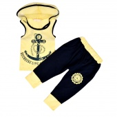 Summer 2pcs Boys Suit Children Clothes Kids Set T Shirt + Cell Harem Pants Shorts