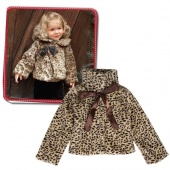 Girls Kids Princess Leopard Faux Fur Capelet Cape Coat with Ribbon
