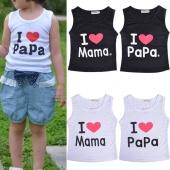 Girls Boys Vest Sleeveless I LOVE Pa Ma Print Vest Tops Costume 5 Sizes
