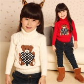 Winter Baby Girl Boy Warm Stand Collar Bear Pattern Pullovers Knitted Sweater