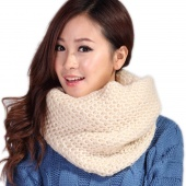 Fashion Women Winter Warm 2 Circle Cable Knitted Cowl Neck Scarf Shawl