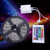5M SMD RGB 5050 Strip Light 300 LED &24 Key IR Remote&12V 5A Power New