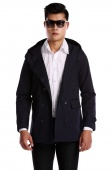 Mens Fashion Casual Double Breasted Trench Slim Fit Long Coat Hoodies Jacket