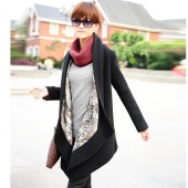 Women's Korean Style Two Way Asym Hem Woolen Coat Jacket Black