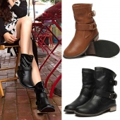 Women Shoes Fashion-Mid-Calf Flat Heel British Driving Short Boots