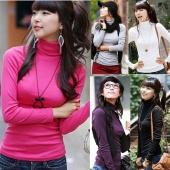 Women Pullovers Turtleneck Long-sleeve Basic Shirt Solid Bottoming Shirt Tops