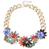 Fashion Bronze Chain Rhinestone Crystal & Flower Beads Rope Necklace