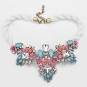 Fashion Bronze Chain Rhinestone Crystal & Flower Beads Rope Necklace Fashion