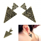 "Korea Fashion Cool Punk Bronze Triangle Women""s Girls Party Ear Studs Earrings"