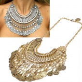 Vintage Retro Coin Tassel Carved Alloy Rhinestone Necklace