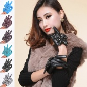 Women LADY Shiny Rivet Synthetic Leather Bowknot Butterfly Gloves