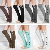 Womens Knee High Knit Flat Button Crochet Lace Trim Leg Warmers Boot Socks