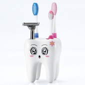 Cartoon Cute 4 Hole Fashion Tooth Style Toothbrush Holder Bracket Container for Bathroom