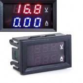 Red Blue LED DC 0-100V 10A Dual Digital Voltmeter Ammeter Panel Amp Volt Gauge
