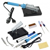 9 DIY Electric Soldering Iron Starter Tool Kit Set with Iron Stand Solder Desoldering Pump 60W