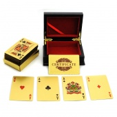24K Karat Gold Foil Plated EUR Poker Playing Card with Wood Box And Certificate