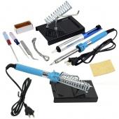 9 DIY Electric Soldering Iron Starter Tool Kit Set with Iron Stand Solder Desoldering Pump