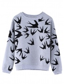 Autumn And Winter Women Swallow Printing Thickening Loose-sleeved Pullover Sweater