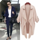 Fashion Women Lapel Chiffon Asymmetrical Hem Jacket Trench Long Coat