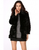 Women's Warm Sheep Skin Faux Fox Fur Mid Long Coat Shawl Parka Overcoat