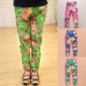 Baby Girls Winter Fleece Warm Floral Printed Leggings Child Pants