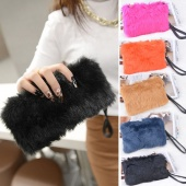 Fashion Women's Elegant Clutch Bag Faux Fur Handbag Wallet Candy Color Clutch