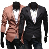 Men's Slim Irregular Style Suit Fit Two Button Casual Blazer Coat Jackets 2 Colors