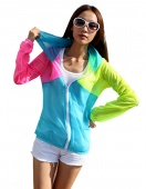 Women Multi-color Long Sleeve Sun Protection Transparent Clothing Beach Shirt Thin Outerwear