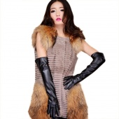 Faux Leather Women's Autumn Winter Warm Outdoors Long Gloves 4 Colors