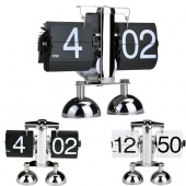 Vintage Retro Digital Auto Page Turning Dual Stand Metal Flip Clocks Home Decor Table Quartz Clock