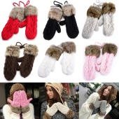 Lady's Korean Style Women's Winter Pure Color Mitten Knitting Thick Warm Wool Fur Halter Wrist Gloves