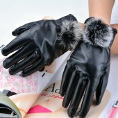 Fur Faux Rabbit Fashion Short Design Women's Synthetic Leather Finger Gloves Winter Thickening Gloves