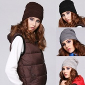Fashion Women Warm Knitted Plain Knit Rivet Cap Hat