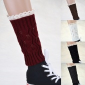 Stylish New Girl's Kids Warm Knit Boot Cuffs Lace Boot Topprers Knit Leg Warmers Boot Socks Cuffs