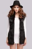 Lady Women's Fashion Faux Fur Synthetic Leather Slim Waistcoat Outerwear Coat Jacket Vest