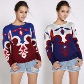 Women Bohemia Geometry Print Loose Casual Pullover Sweater