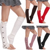 Women's Fashion Button Knit Crochet Leg Lace Warmer Leggings Socks
