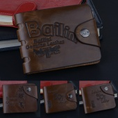 Men's Classic Brown Bifold Leather Coin Pocket Wallet