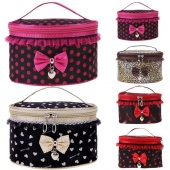 Fashion Women's Sweet Lace Bowknot Travel Makeup Storage Beauty Case Cosmetic Bag