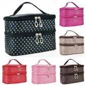Women's Fashion Portable Double-Deck Toiletry Bag Dot Pattern Makeup Bag