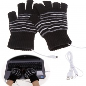 Unisex Stylish Warm Mitten Gloves Knit Stripes USB Heated Gloves
