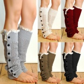 Fashion Winter Women's Open Weave Button Leg Warmer Boot Socks
