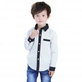 Baby Boy Kids Children's Wear Long Sleeve Polka Dot Lapel Shirt Tops Blouse