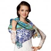 Stylish New Women's Ladies Blue-White Porcelain Pattern Soft Satin Square Scarf Shawl