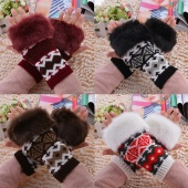 Stylish New Women's Handmade Half-Finger Glove Winter Warm Faux Fur Knitted Gloves