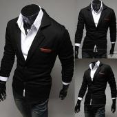 Stylish Men's Button Coat Casual Black Overcoat